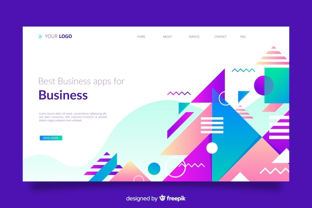 Geometric landing page with geometric shapes Free Vector