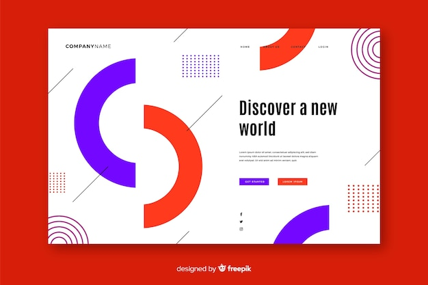 Geometric landing page with half circles Free Vector
