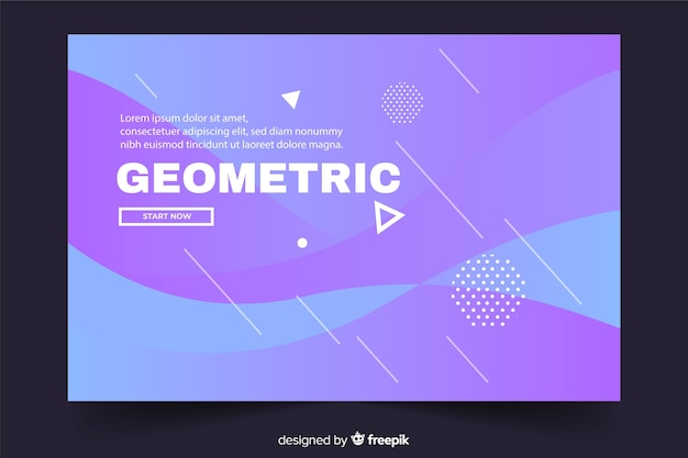 Geometric landing page with liquid background and white shapes Free Vector