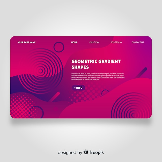 Geometric landing page Free Vector