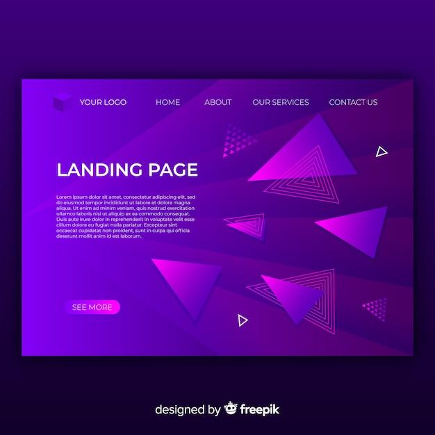 Geometric landing page Free Vector