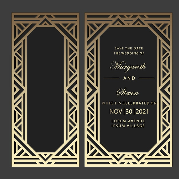 Geometric laser cut wedding invitation. art deco design. Premium Vector