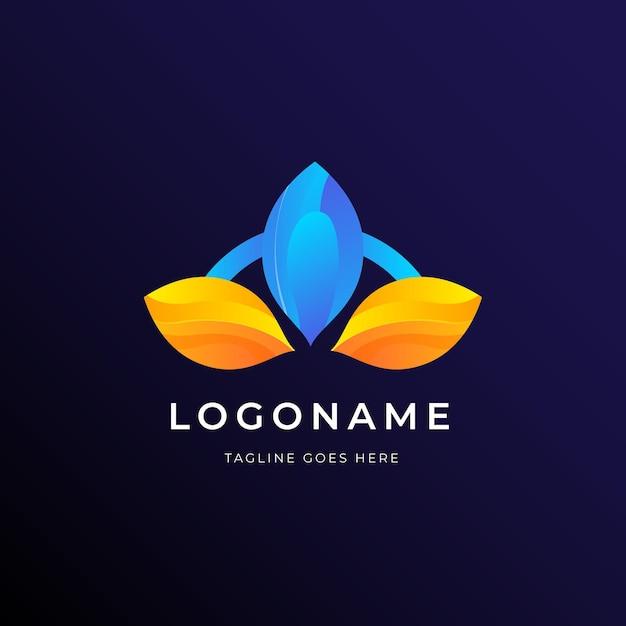 Modello di affari di logo di foglie geometriche Vettore gratuito