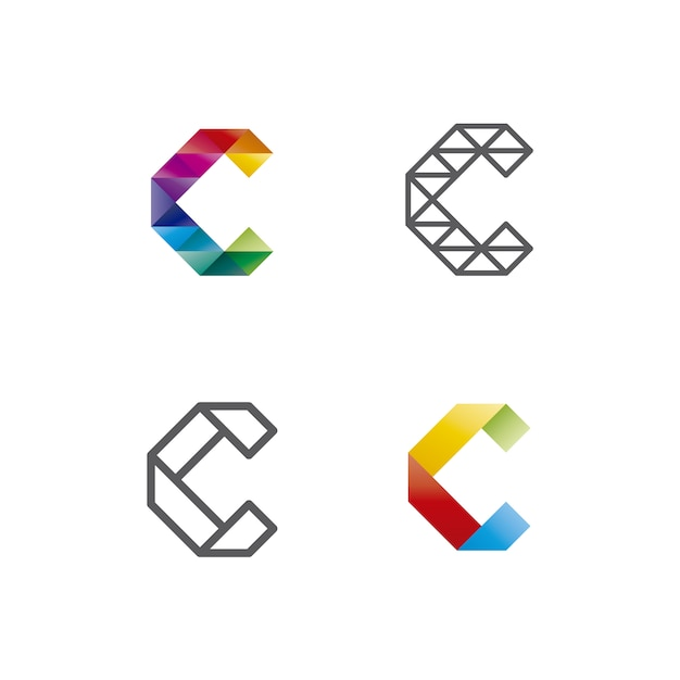 geometric letter c logo collection vector premium download