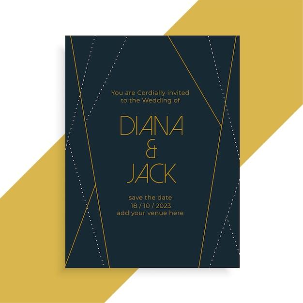 幾何学的なラインスタイルの結婚式の招待状の暗いテンプレートデザイン 無料ベクター