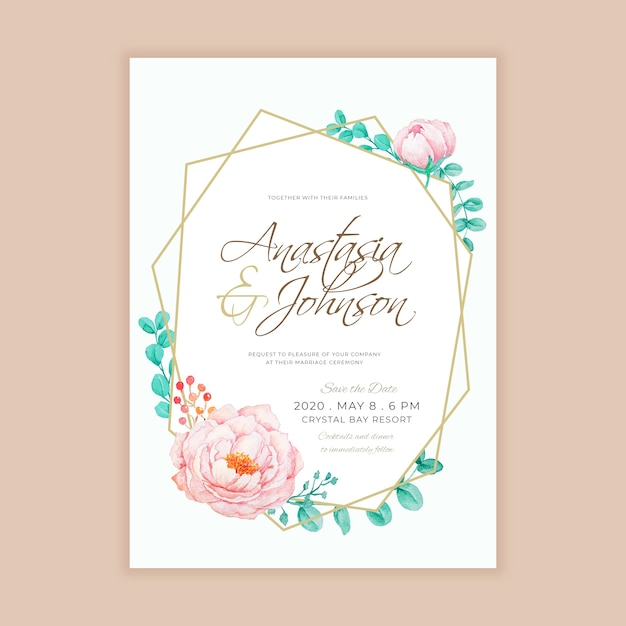 Geometric Line With Watercolor Floral Wedding Invitation Template