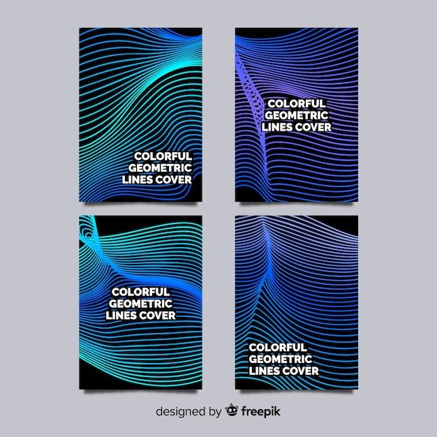 Geometric lines brochure pack Free Vector