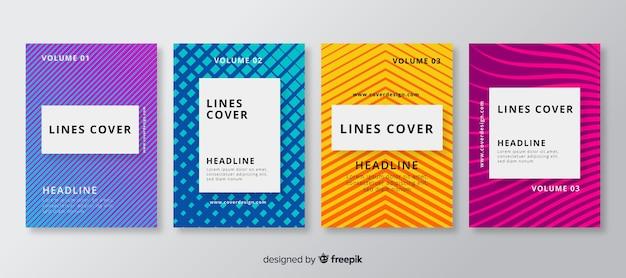 Geometric lines brochure set Free Vector