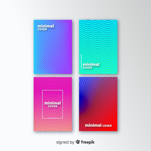 Geometric lines cover collection Free Vector