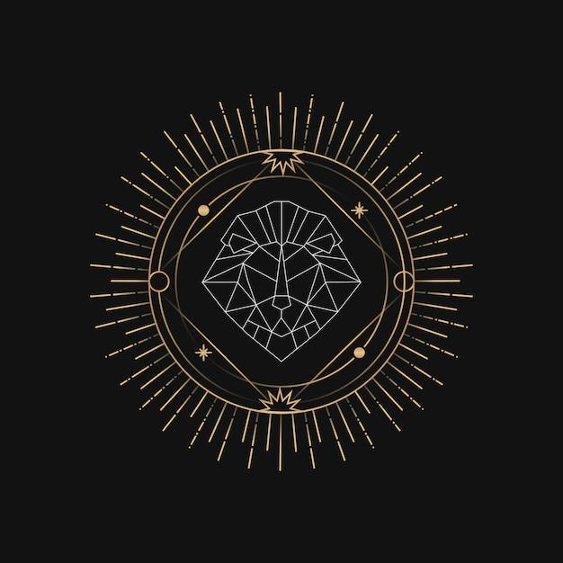 Geometric lion astrological tarot card Free Vector