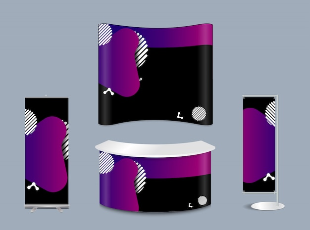 Geometric liquid form various colors with exhibition stand mock-up Premium Vector