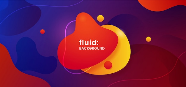 Geometric liquid shape badge with dynamic color fluid background Premium Vector