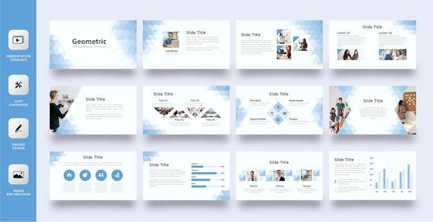 Geometric low poly slide presentation template Premium Vector