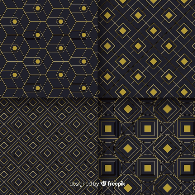 Geometric luxury black and golden pattern collection Free Vector