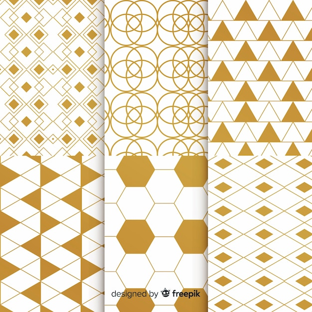 Geometric luxury gold pattern collection Free Vector