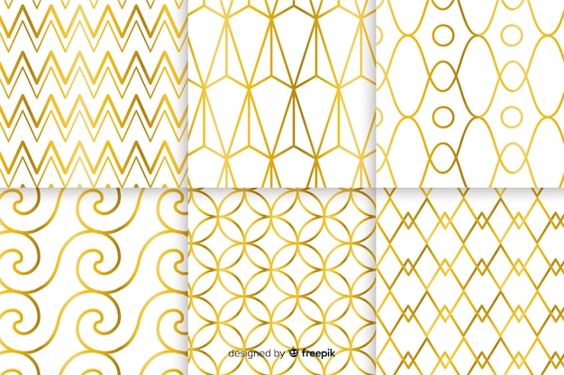Geometric luxury pattern collection concept Free Vector