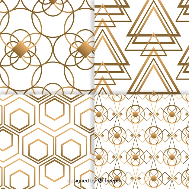 Geometric luxury pattern collection Free Vector