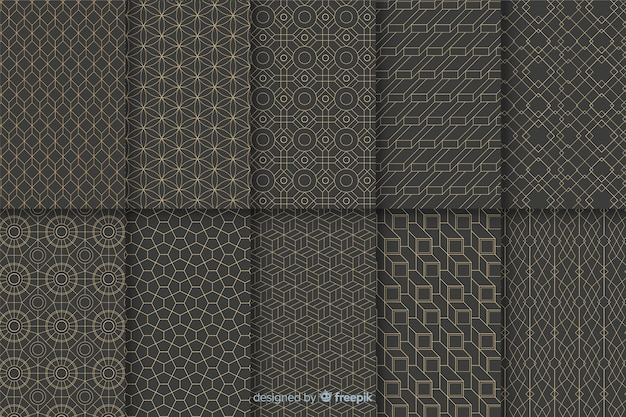 Geometric luxury pattern collection Premium Vector