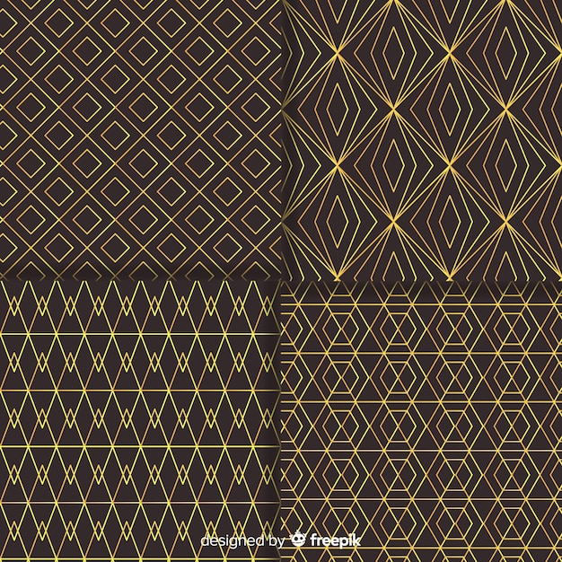 Geometric luxury pattern pack Free Vector