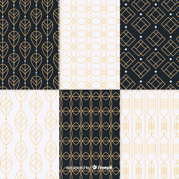Geometric luxury pattern pack Free Vector