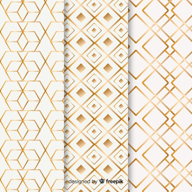 Geometric luxury pattern set Free Vector