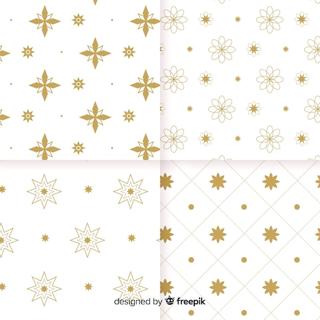 Geometric luxury white and golden pattern collection Free Vector