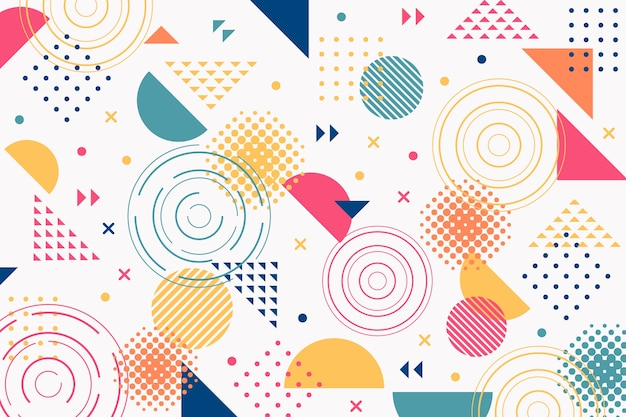 Geometric memphis shapes background Free Vector