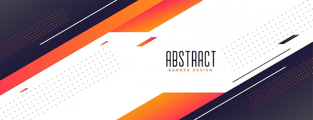 Geometric memphis style modern banner with orange shapes Free Vector