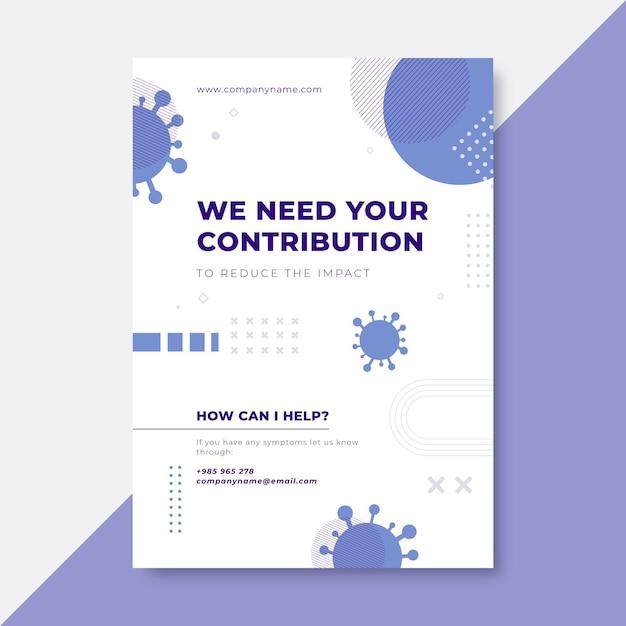 Geometric minimalist coronavirus poster Free Vector