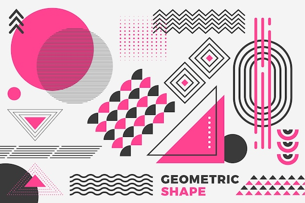Geometric models background in flat design Free Vector