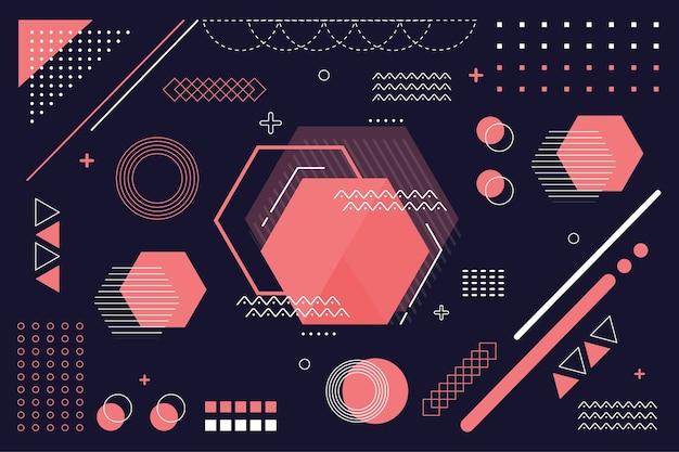 Geometric models flat background Free Vector