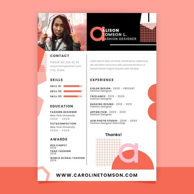幾何学的な単色のファッション履歴書 無料ベクター