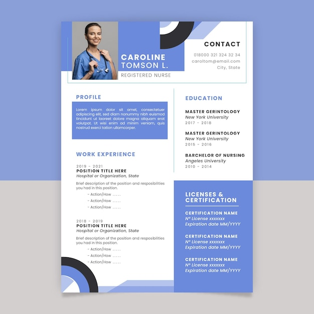 Geometric monocolor medical resume Free Vector