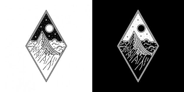 幾何学的な山モノラインタトゥーのデザイン Premiumベクター