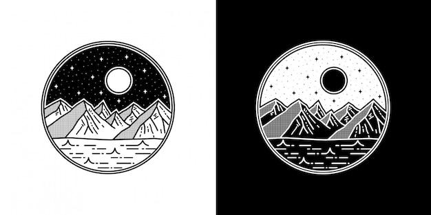 幾何学的な山のタトゥーモノラインバッジデザイン Premiumベクター