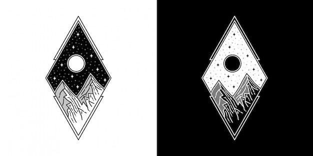 ムーンタトゥーモノラインデザインの幾何学的な山 Premiumベクター
