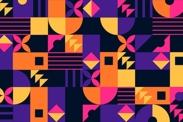 Geometric mural background with abstract shapes Free Vector