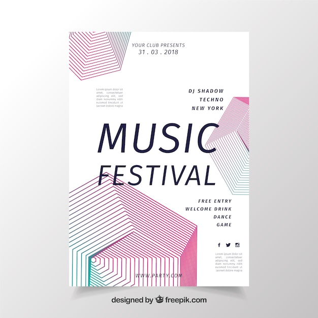 Geometric music poster design Free Vector