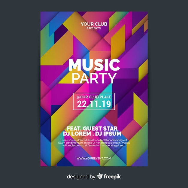 Geometric music poster template Free Vector