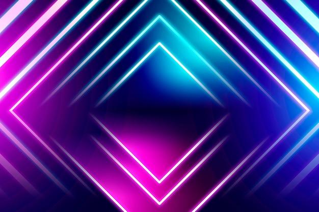 Sfondo geometrico al neon Vettore gratuito