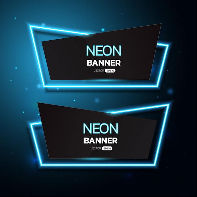 Geometric neon banners. Premium Vector