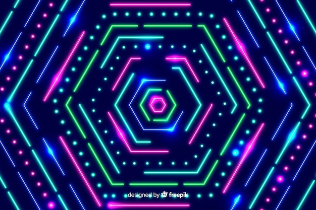 Geometric neon polygonal shapes background Free Vector