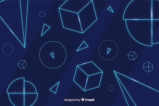 Geometric neon shapes blue background Free Vector