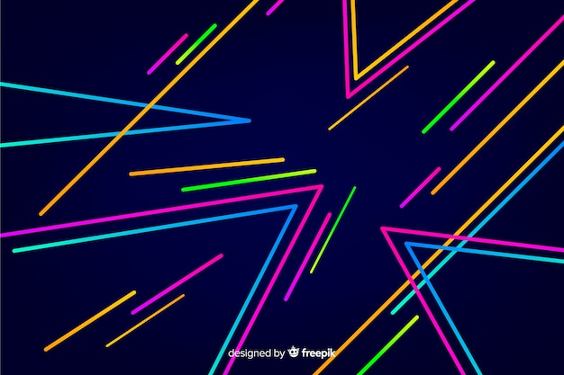 Geometric neon shapes decorative background Free Vector