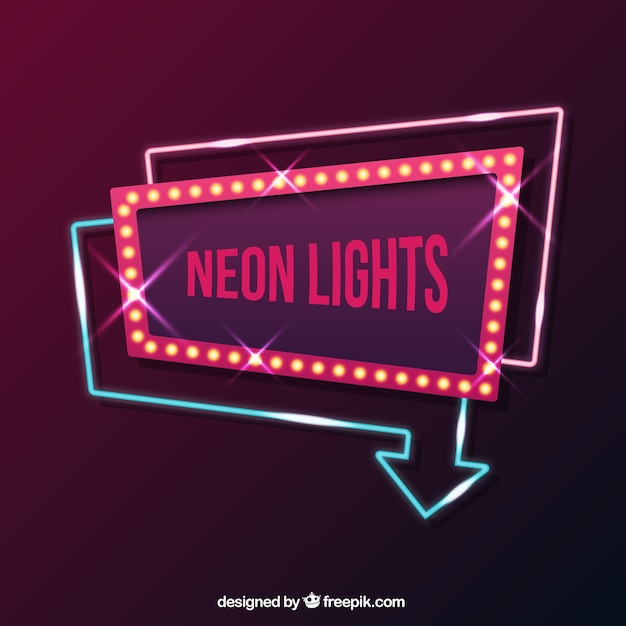 Geometric neon sign Free Vector