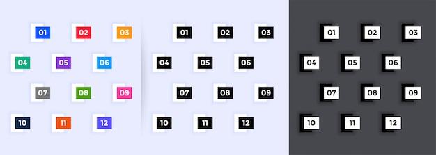 1から12までの幾何学的な番号付きの箇条書き 無料ベクター