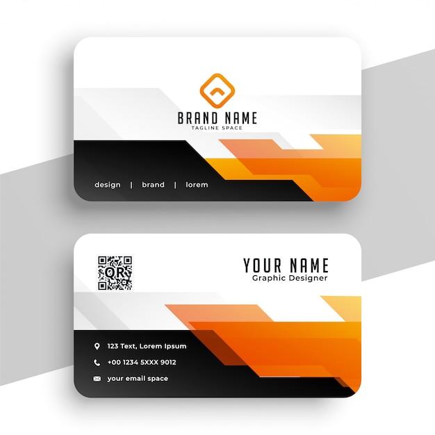 Geometric orange professional business card  template Free Vector