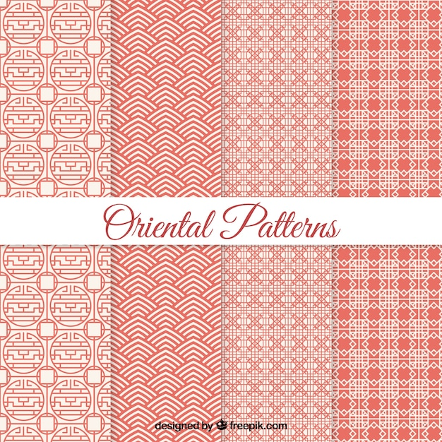 Geometric oriental patterns  Free Vector