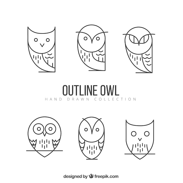 Geometric outline owl pack Free Vector