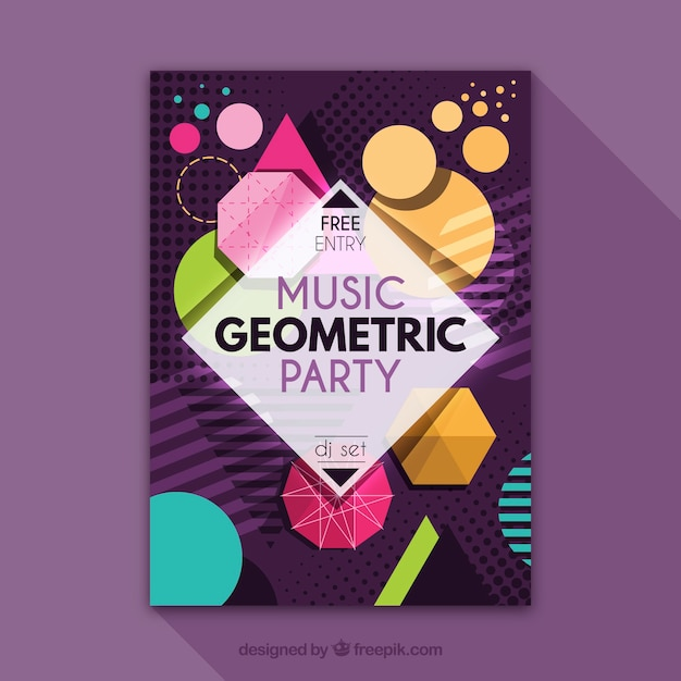 Geometric party poster with modern style Free Vector